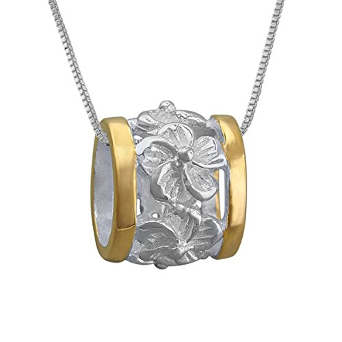 - Sterling Silver with 14kt Yellow Gold Plated Accents Plumeria Bead Barrel Pendant Necklace, 16+2