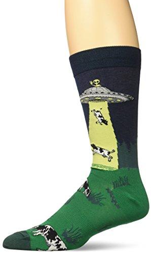 K.Bell Black Label Men's Ufo Abduction Crew Socks, Navy, Sock Size: 10-13/Shoe - K In Black Men
