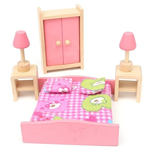 Kids House Play Wooden Children Doll Houses Toys (Bedroom) Price give 2 dolls for free by Mama Store