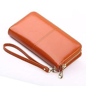SKUDGEAR Long Bi-Fold Zipper Wallet Large Capacity PU Leather Clutch Women's Wristlet (Tan Brown)