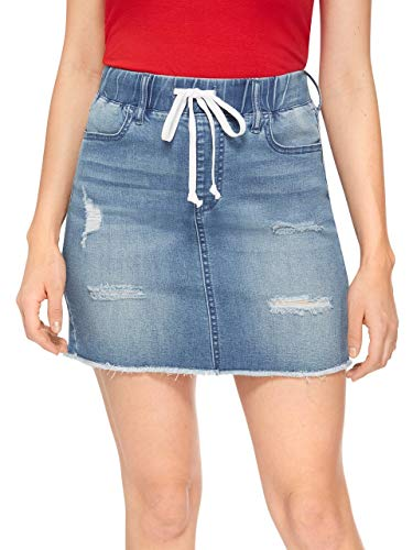 GUESS Factory Women's Anora Distressed Denim Mini Skirt (Guess Skirt Mini)