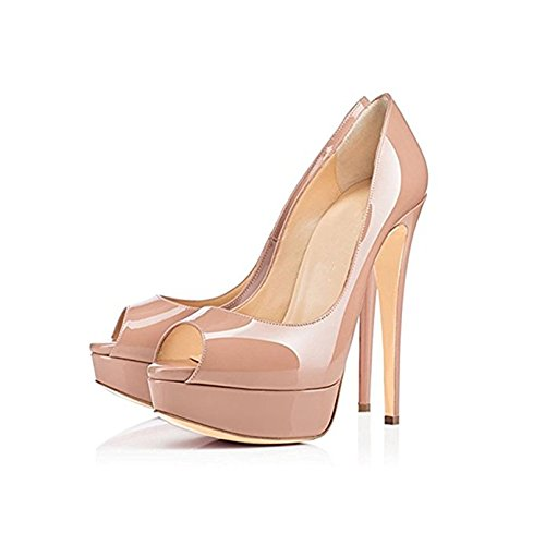 Purple Nude and Patent Nude Pumps MIUINCY Platform Blue Shoes Black 3 Shoes Women 5 Heels High Shoes Toe Wedding Open Shoes Red Fashion Heels Leather wSA1FqBw