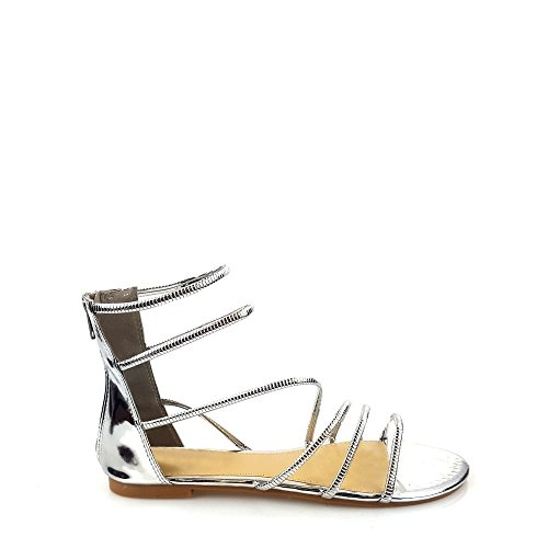 Miss Diva Bliss Ladies Women Flat Gladiator Strappy Open Toe Sandal Silver g09WVj6
