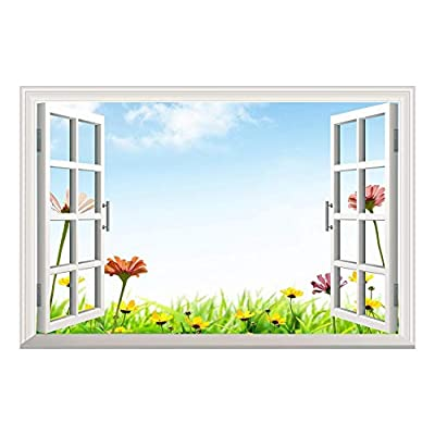Daisy Flowers Under Blue Sky Open Window Mural Wall Sticker, Made With Top Quality, Amazing Picture