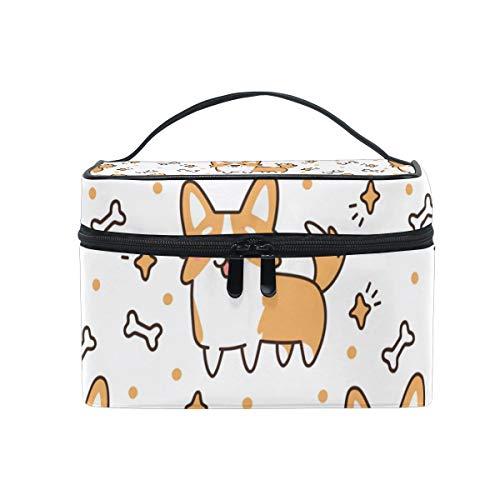 Makeup Cosmetic Bag Lovely Corgi Dogs Bone Pattern Portable Travel Train Case Toiletry Bags Organizer Multifunction Storage