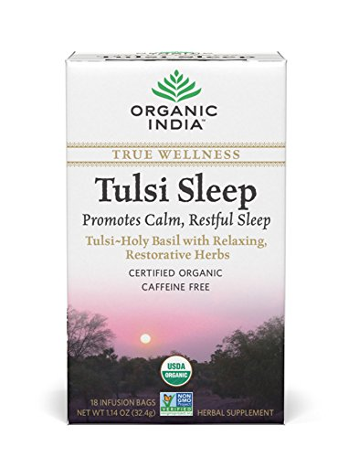 Original Tulsi Tea - Organic India Organic Tulsi Herbal Tea, Tulsi Sleep, 18 Tea Bags (Pack of 6)