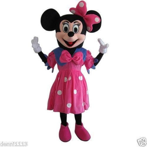 Disney Themed Costumes Male (Minnie Mouse Pink Mascot Costume Adult Size For Birthday Girl Party Event Halloween)