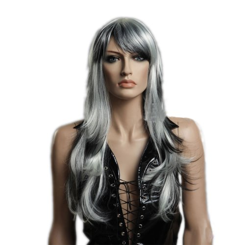 CoolLong Mix Gray and White Slight Curly Wave side swept fringe bang hairstyle soft layered flowing curls Hair Style Wig