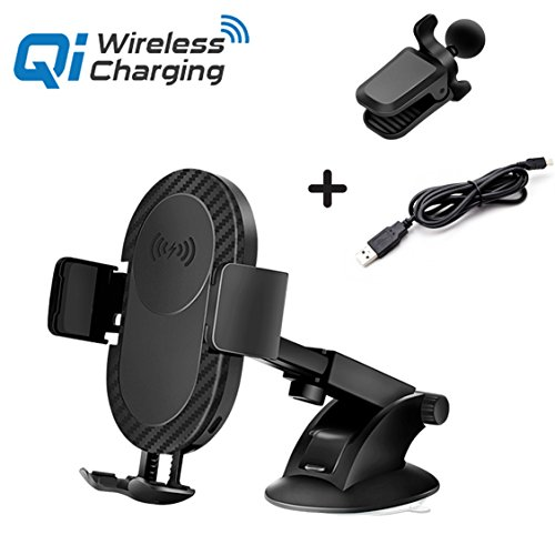 Wireless Car Charger,SKYNOW Dashboard & Windshield Qi Wireless Charger Car Mount Holder for iPhone X/8/8 Plus and Fast Wireless Charging for Samsung Galaxy S9 S9 Plus S8 Plus S8 S7 Edge Note 8 Note 5. (Black)