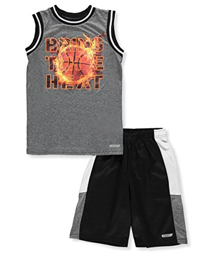 Hind Big Boys' 2-Piece Outfit - Charcoal Gray Multi, 8 (Striped Basketball Shorts Mesh)