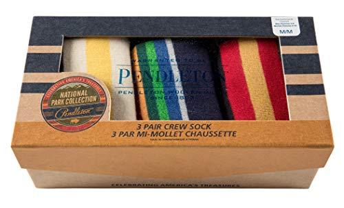 Pendleton Mens 3-pack National Park Gift Box, Large, Glacier/Crater Lake/Rainier Stripes