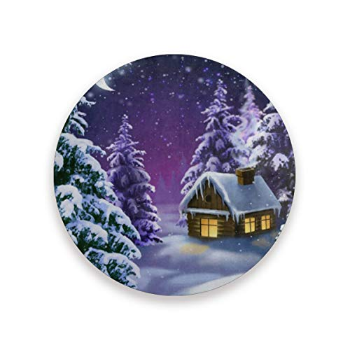 Coasters for Drinks,Christmas Night Moon Snow Scenery Ceramic Round Cork Trivet Heat Resistant Hot Pads Table Cup Mat Coaster-Set of 2 Pieces