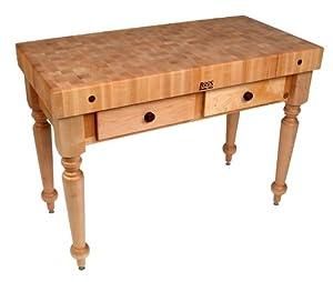 Amazon.com: American Heritage Rustica Butcher Block Table Shelves: Not Inluded, Finish: Caviar ...