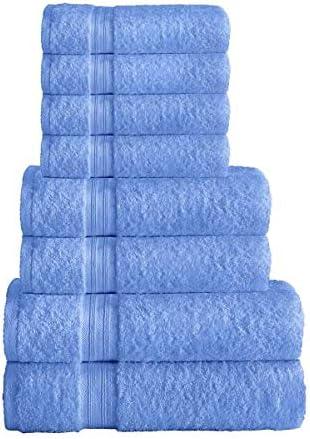 Linen Zone Juego de toallas de 8 piezas, 100% algodón egipcio, 500 g/m², 2 toallas de baño, 2 toallas de mano, 4 ...