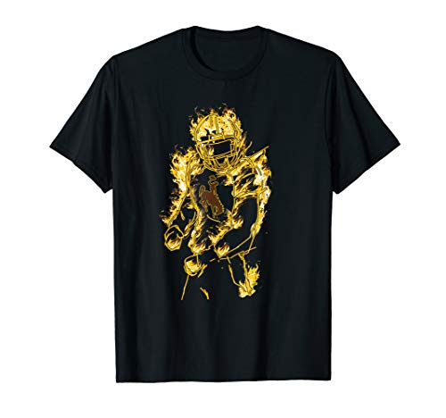Wyoming Cowboys Football Player On Fire T-Shirt - Apparel (Best Player On The Cowboys)