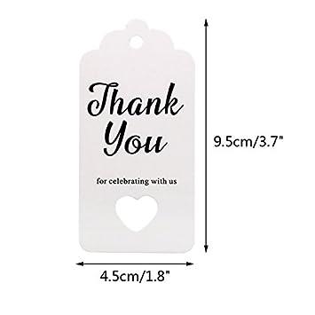 9.5 * 4.5 cmGrazie per festeggiare con noi Etichette cuore con spago in juta da 30 m Tag per bomboniere targhette da regalo da 100 pz Marrone