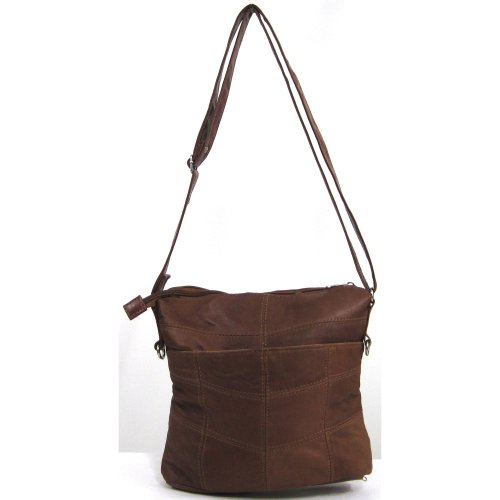 Soft Womens Shoulder Bag Super Nappa Black Tan Handbag Leather Tan 775qAwR