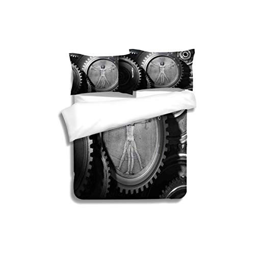 Duvet Cover Set Industrial Decor Wheels of the System with Medieval Old Human Body Animation Device Gears of 3 Piece Bedding Set with Pillow Shams, Queen/Full, Dark Orange White Teal Coral