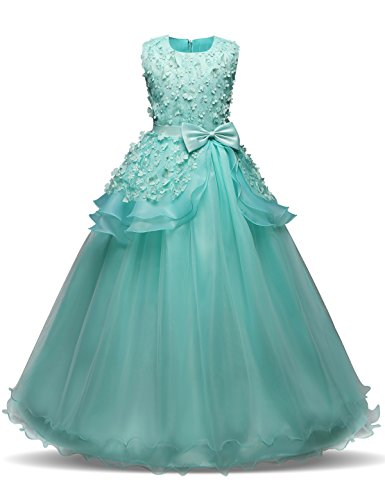 NNJXD Girl Sleeveless Embroidery Princess Pageant Dresses Prom Ball Gown Size (140) 8-9 Years Green