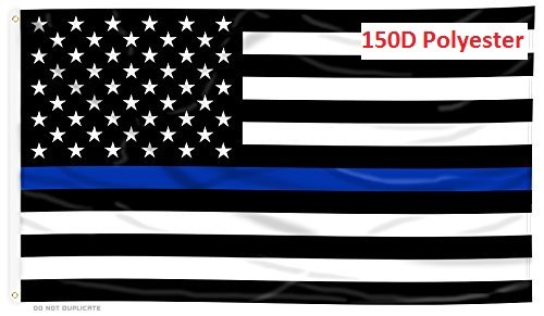 G128 - Thin Blue Line U.S. Printed Flag 3X5 FT Honoring Men
