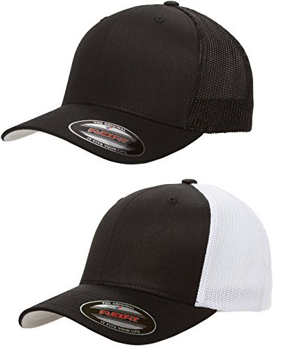 Flexfit - Trucker Cap - 6511 - (2Pack) 1-Solid Black & - Hat Trucker Flexfit