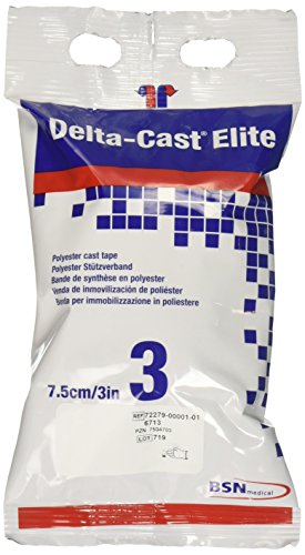 BSN Medical 6713 Delta-Cast Elite Fiberglass-Free Cast Tape, 3'' x 4 yd. Size, White (Pack of 10) by BSN Medical