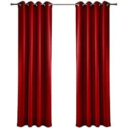 MYSKY HOME Solid Grommet top Thermal Insulated Window Blackout Curtains for Dining Room, 52 x 84 Inch, Red, 1 Panel