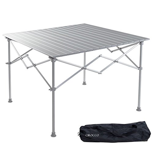 Aluminum Alloy Portable Folding Indoor Outdoor Camping BBQ Picnic Table Desk with Roll up Top | Heavy Duty Compact Lightweight Furniture for Patio Garden Party Backyard Beach Swimming Hiking Fishing by Cirocco
