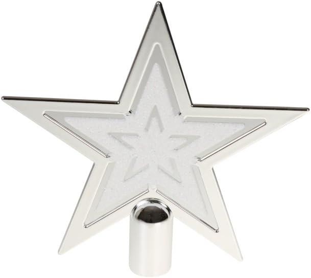 Decorazione Natalizia a Forma di Stella in plastica infrangibile Bianco con Brillantini Clever Creations Puntale per Albero di Natale 20 cm