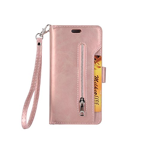 Galaxy S7 Edge Wallet Case, Leather [9 Card slots] [photo & wallet pocket] (Rose Gold) by SUPZY
