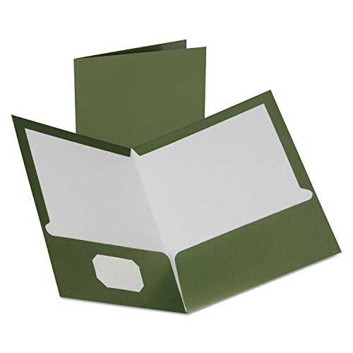 Oxford Two-Pocket Laminated Folder, 100-Sheet Capacity, Metallic Green - Oxford Two Pocket