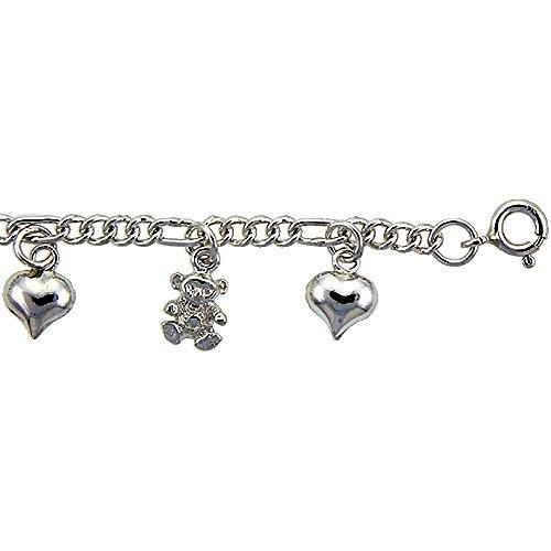 Sterling Silver Hearts and Teddy Bears Charm Bracelet 14mm wide, fits 7-8 inch (Teddy Bear Heart Charm)