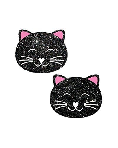 Pastease Glitter Black Kitty Cat Rave Pasties (Set of 2 (Cats Peel)