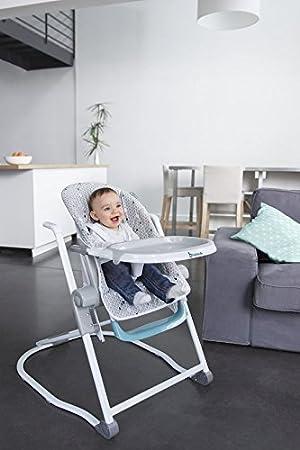 mitwachsender Kinderhochstuhl 5-fach h/öhenverstellbar einfach zusammenzuklappen mehrfarbig mit gro/ßem Esstisch Badabulle B010701 Kompakter Hochstuhl Babyhochstuhl