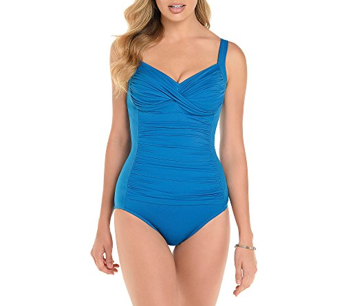 Trimshaper Womens Swimsuit - Trimshaper Solid Ruched One Piece Suit Peacock Blue 10