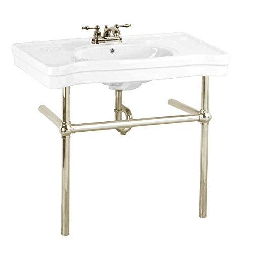 White Bathroom Recessed Console Sink With Metal Legs Grade A Vitreous China Belle Epoque With Satin Nickel Bistro Leg Frame - Metal Sink Frame