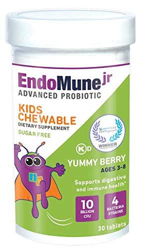 EndoMune Jr Advanced Kids Probiotic and Prebiotic | 10 Billion CFUs | 4 Strains Bacteria and FOS Prebiotic | Physician Formulated | 30 Chewable Tablets