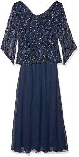 - J Kara Women's Plus Size Long Beaded Dress with Cowl Neck, Navy/Mercury, 14W