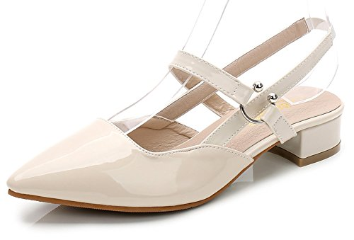 Aisun Women's Sexy Pointed Closed Toe Dressy Elastic Chunky Low Heel Slingback Sandals Shoes apricot