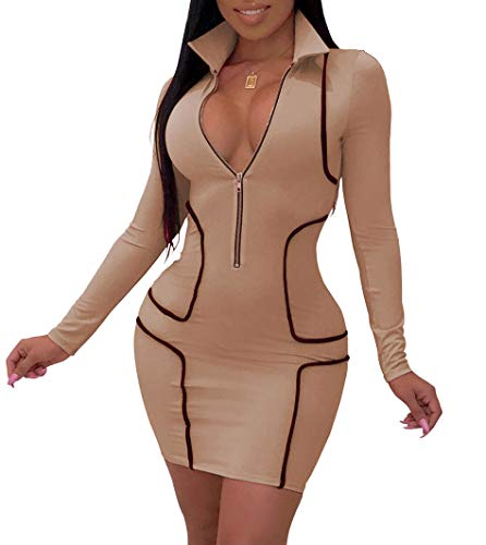 ThusFar Women's Sexy Club Bodycon Dress - Long Sleeve V Neck Mini Party Outfits Large Khaki (Sexy Khaki Club Dress)