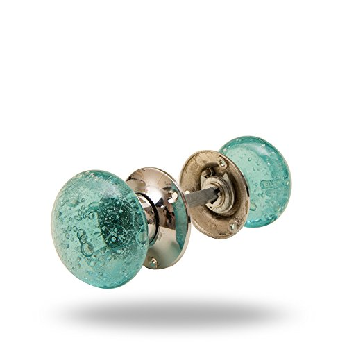 Mortise Door Knobs with Spindle (Bubble, Turquoise)