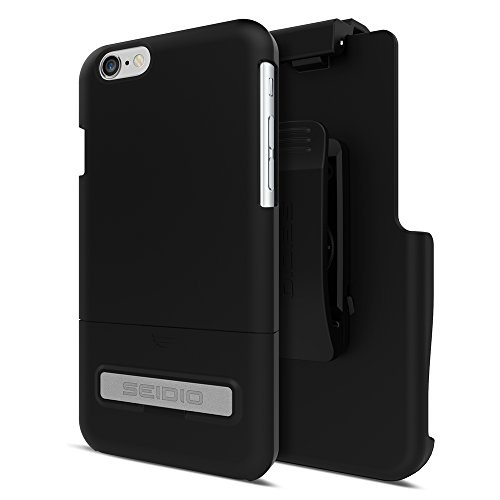 Seidio Phone Cases (Seidio SURFACE with Metal Kickstand Case & Belt-Clip Holster for iPhone 6 ONLY [Slim Case] - Retail Packaging - Black)