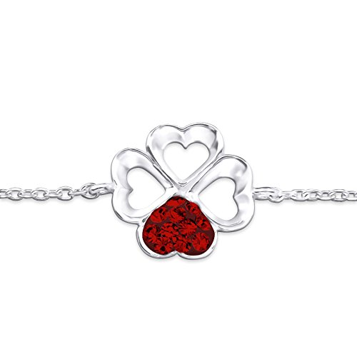 Siam Sterling Bracelet (Atik Jewelry Silver Shamrock Bracelet - Light Siam)