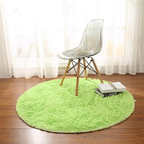 MOXIC Solid Round Area Rugs Soft Shag Living Room Bedroom Children Rug Anti-Slip Plush Carpet Bathroom Mats Circular Modern Home Decorate Nursery Runners Green 6.5' X 6.5'