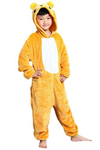 Zerlar Children's Pajamas Animal Costume Animal Onesie Kids Sleeping Wear Kigurumi Pajamas Cosplay (XL(Height 120cm-130cm), (Kids Bear Costume)