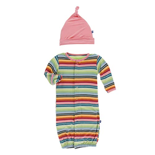 Kickee Pants Cancun Layette Gown Converter & Knot Hat Set - Cancun Strawberry Stripe, NB