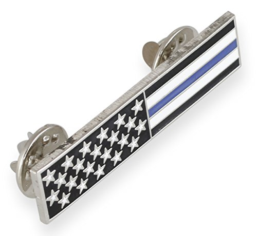 Thin Blue Line American Flag Stars + Stripes Uniform Bar Pin (1 Pin)