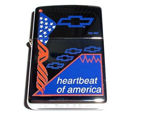 Zippo Chevrolet Chevy Flag Heatbeat of America High Polish Chrome Lighter ()