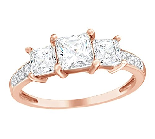 (AFFY Princess Cut Simulated White Sapphire & White Cubic Zirconia Three Stone Ring in 10k Rose Gold Ring Size-7.5)