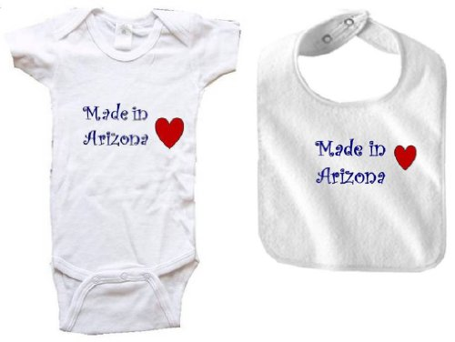 MADE IN ARIZONA - ARIZONA BABY - 2 Piece Baby-Set - State-series - White Baby One Piece Bodysuit / Baby T-shirt and White Bib - size Small - Women For Glendale Two